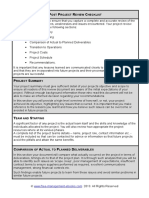 Fme Post Project Review Checklist
