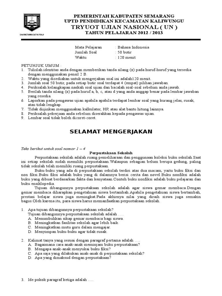 Latihan Soal Us Sd Mi 2016 Bahasa Indonesia 5 Docx