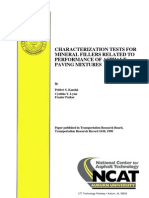 Charactrization Tests for Mineral Fillers Related to Performance of Asphalt Paving Mixtures