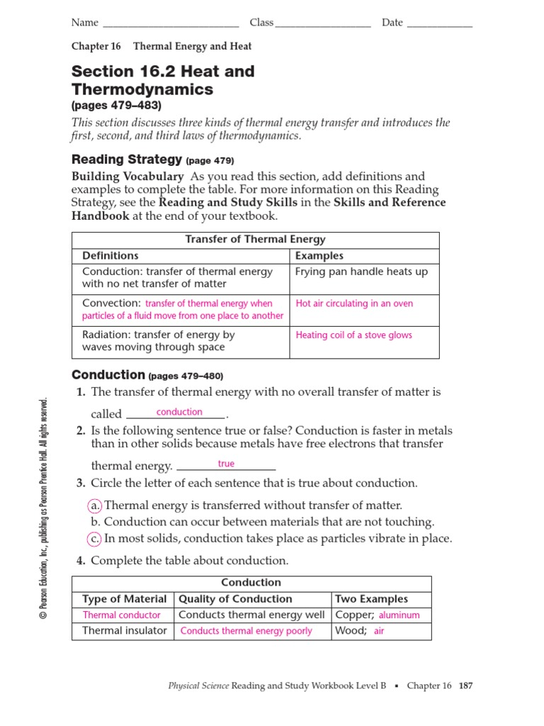 worksheet Thermal Energy Worksheet 16 2 thermal conduction heat