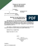 Cabael Motion for Additional Time to File Memorandum Upload