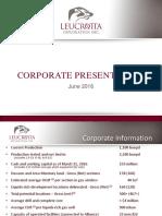 Leucrotta June 2016 Corporate Presentation