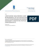Cryogenic Machining and Burnishing of Az31b Magnesium Alloy for e