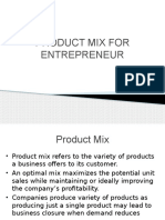 Product Mix for Entrepreneur