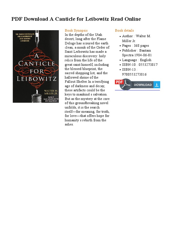 A Canticle For Leibowitz Ebook