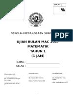 Ujian Matematik Bulan Mac Tahun 1 2017