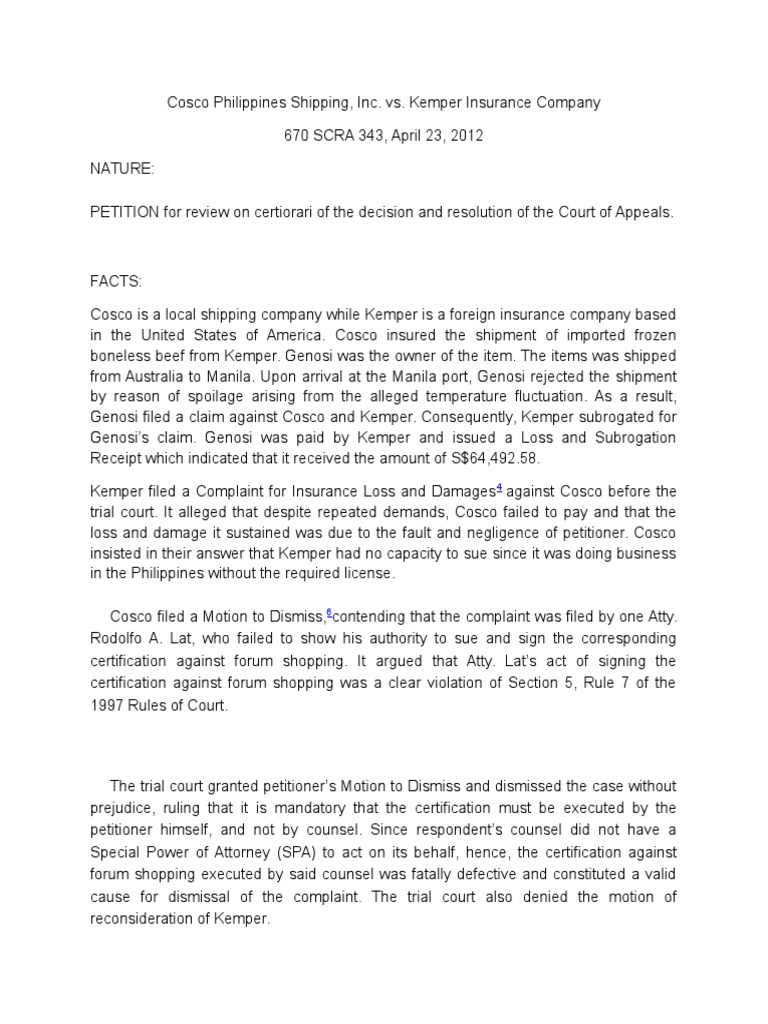 Cosco Philippines Shipping Lawsuit Complaint