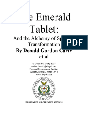 Alchemy] The Emerald Tablet pdf | Hermes Trismegistus | Alchemy