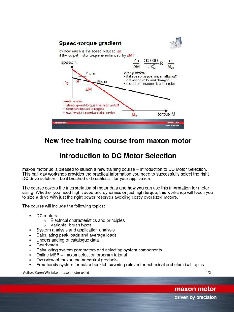 PR Intro Motor Selection Training FINAL KW   Electrical Engineering