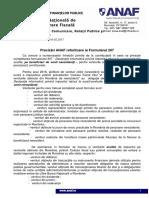 Comunicat ANAF Formularul 207