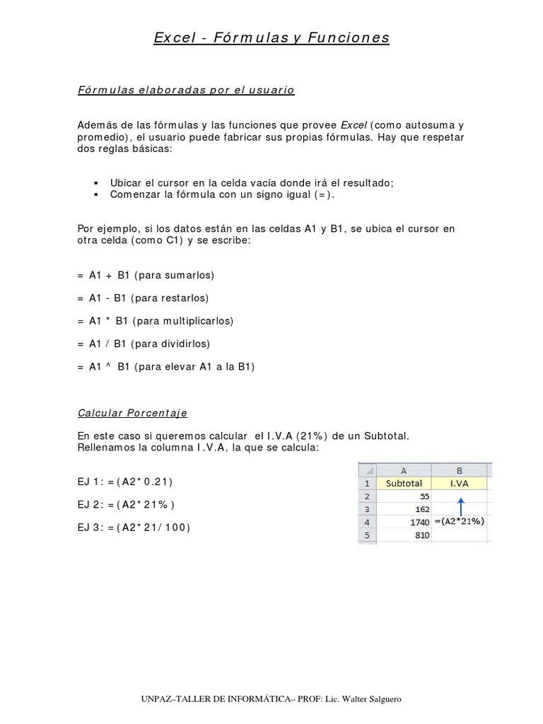 Apunte Excel   Formulas y Funciones   Función Matemáticas   Comillas