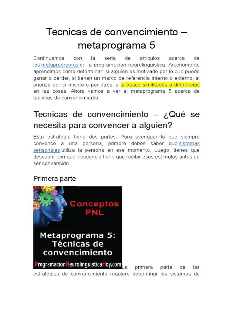 Tecnicas de Convencimiento Meta Programa 5