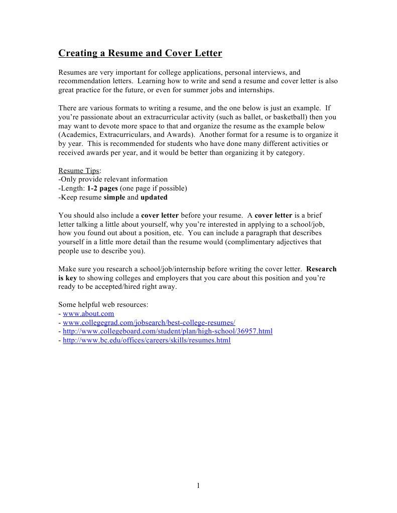 creating a resume and cover letter résumé internship