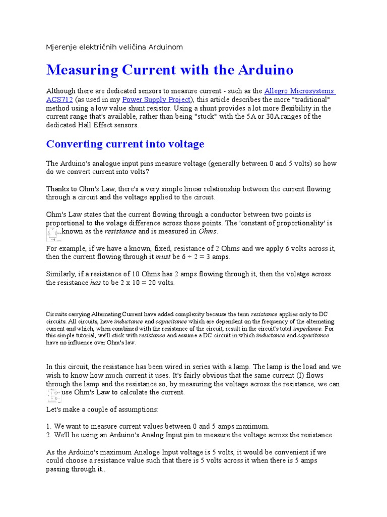 Mjerenje Elektrinih Veliina Arduinomdocx Electrical Resistance Dc Circuit Calculations And Conductance Amplifier
