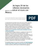 Trump solo logra 20 de los 20.000 millones necesarios para construir el muro con México.