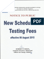 DOST-MIRDC Schedule Testing Fees (2015)