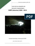 Memoria de las campañas de exploración Onís 2009-2016