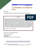 Effect of Surya Namaskar vs Obes