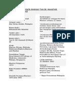 Biodata Ringkas Tun Dr.Mahathir