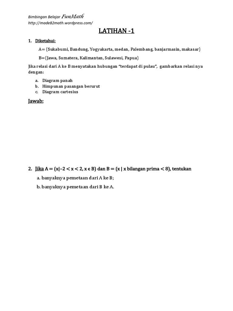 Latihan soal relasi dan fungsi smp kelas 8pdf ccuart Choice Image