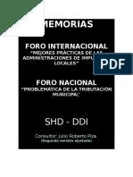 MEMORIAS-FORO INTERNACIONAL MEJORES PRÁCTICAS DE LAS ADMINISTRACIONES DE IMPUESTOS LOCALES