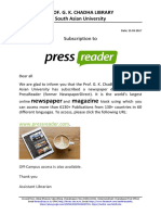 Subscription to the PressReader