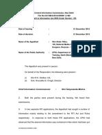 CIC Order dt. 21.12.2012