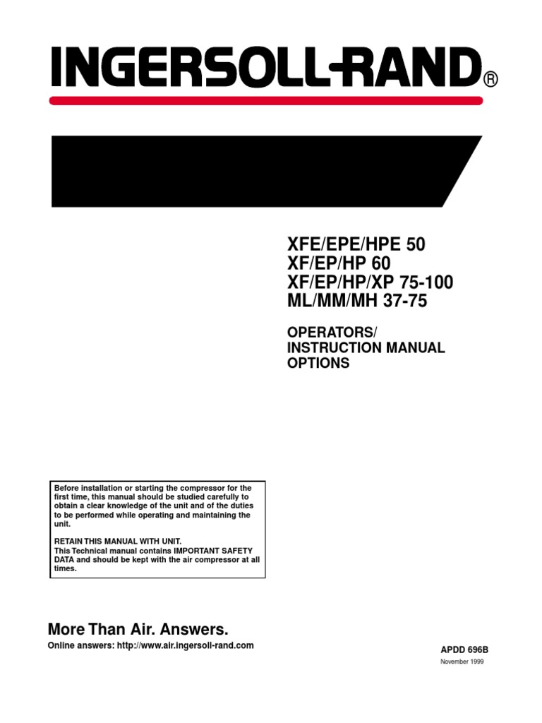 Ingersoll-Rand-Air-Compressor-Operators-Instruction-Manual-60-H.P.-XF-EP-HP. pdf | Gas Compressor | Clothes Dryer