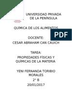 PROPIEDADES FÍSICAS Y QUÍMICAS DE LA MATERIA