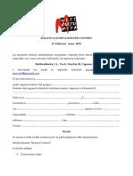 Modulo Di Richiesta Di Partecipazione Contest 2015