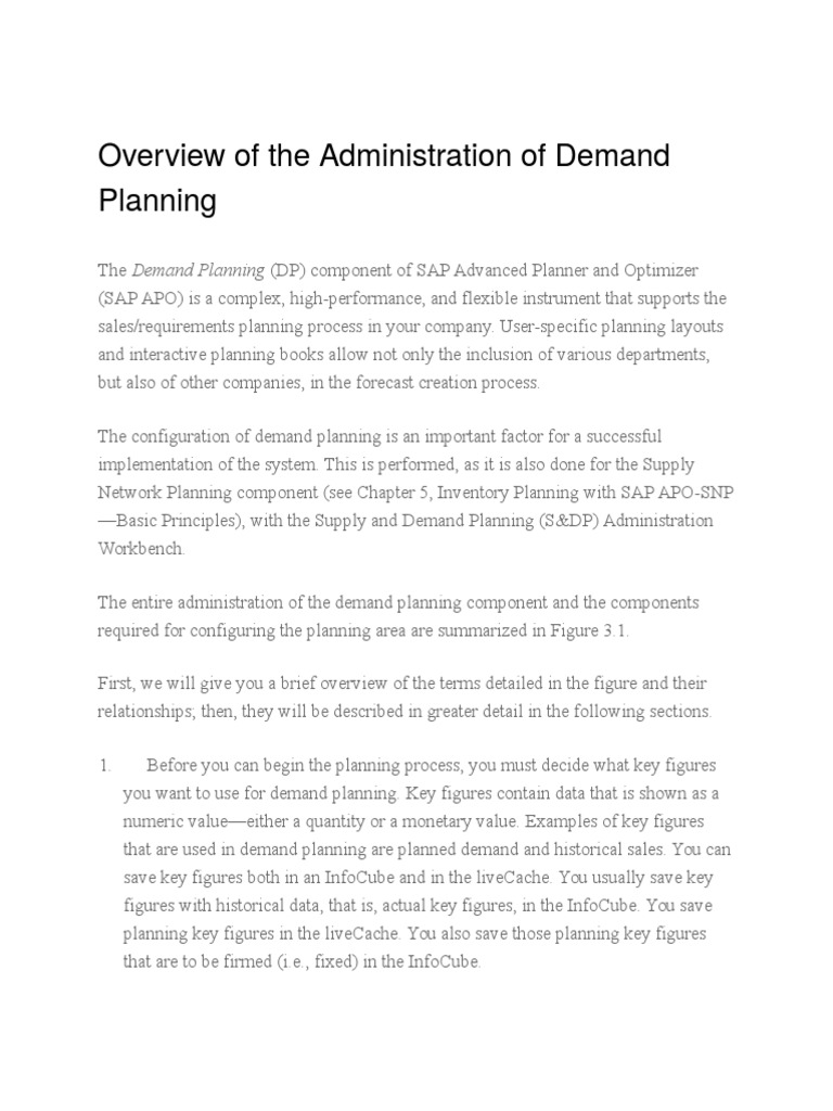 Administration of Demand Planning | Business Intelligence | Computing