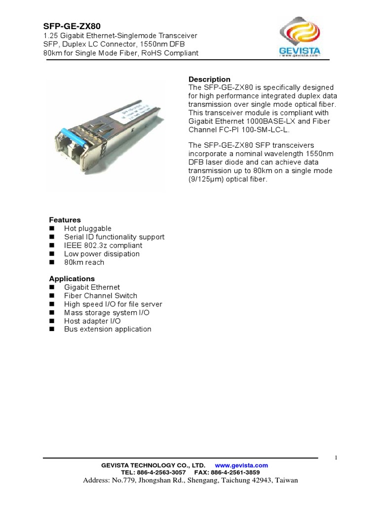 Gevista_sfp Ge Zx80(1550nm Smf 80km)   Telecommunications