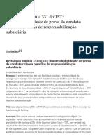00. Revisão Da Súmula 331 Do TST_ Imprescindibilidade de Prova Da Conduta Culposa Para Fins de Responsabilização Subsidiária