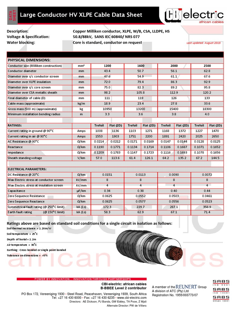 88kV Copper Large Conductor XLPE CSA PE HS Cables | Electrical ...