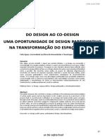 Do Design Ao Codesign - Uma Oportunidade de Design Participativo Na Trasnformação Do Espaço Público
