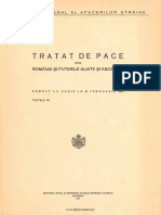 Tratat de Pace Între România Şi Puterile Aliate Şi Asociate Semnat La Paris La 10 Februarie 1947