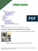 Exigência de Calibração Anual Dos Instrumentos de Medição