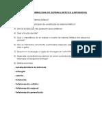 QUESTIONÁRIO - Sistema Linfático
