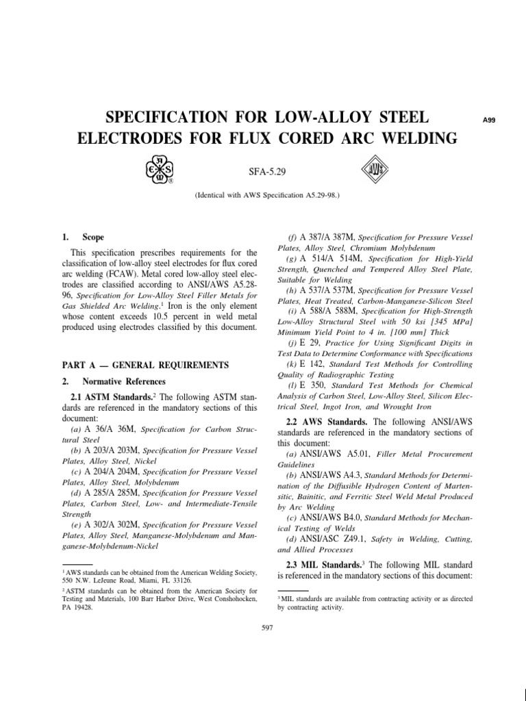 AWS SFA-5.29 SPECIFICATION FOR LOW-ALLOY STEEL ELECTRODES FOR FLUX ...