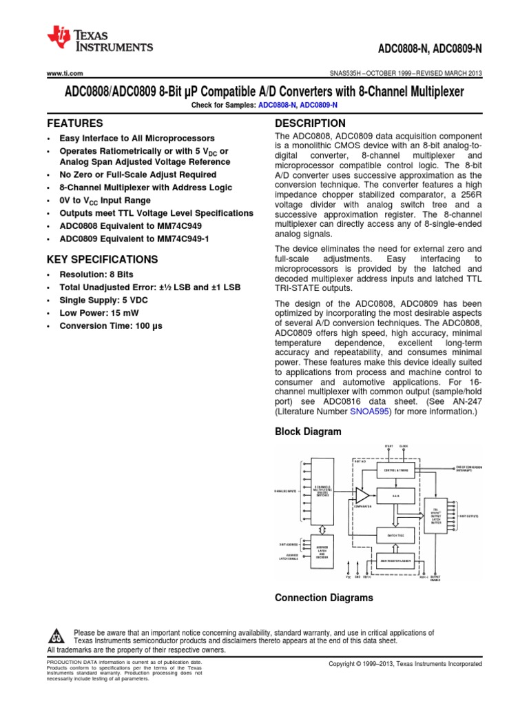 Adc0809 N Data Sheet Analog To Digital Converter Capacitor Functional Diagram Of The Lmd18200 Current Sensing Circuitry
