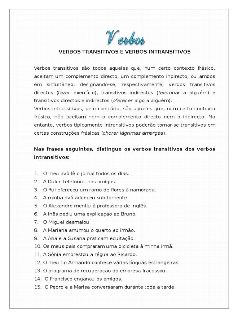 24358702 Verbos Transitivos E Verbos Intransitivos