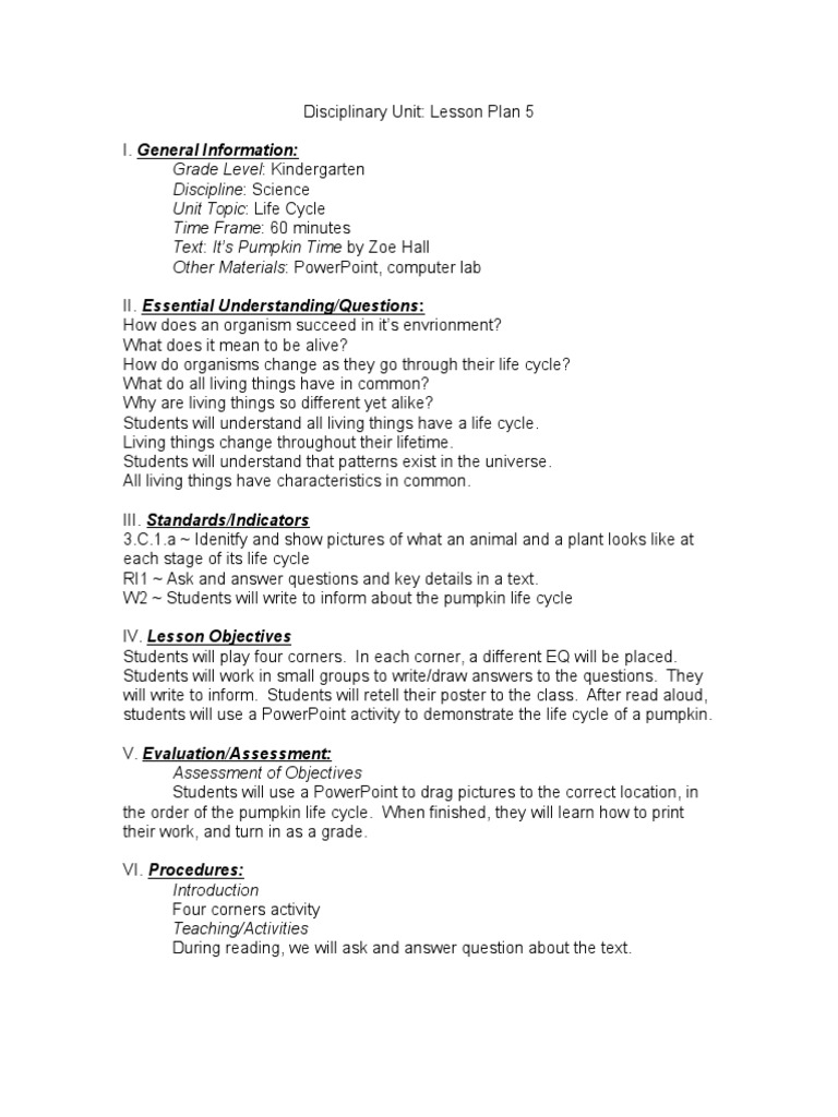 Lesson Plan 5 Lesson Plan Educational Assessment