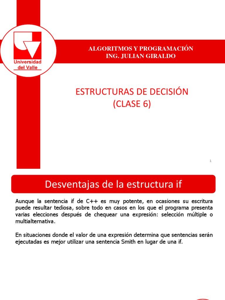 Estructura De Seleccion Switch Clase 6 Algoritmos