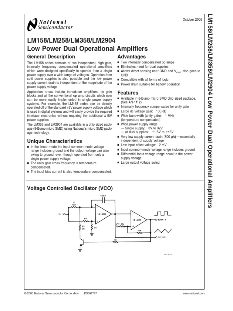Lm358 Amplifier Operational Pin Diagram And Datasheet