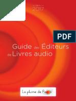 Le guide des éditeurs de livres audio 2017 par La Plume de Paon