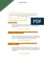 Actualites Legislatives Et Reglementaires Aout 2009