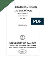 I MCom Organizational Theory and Behaviour On16March2016