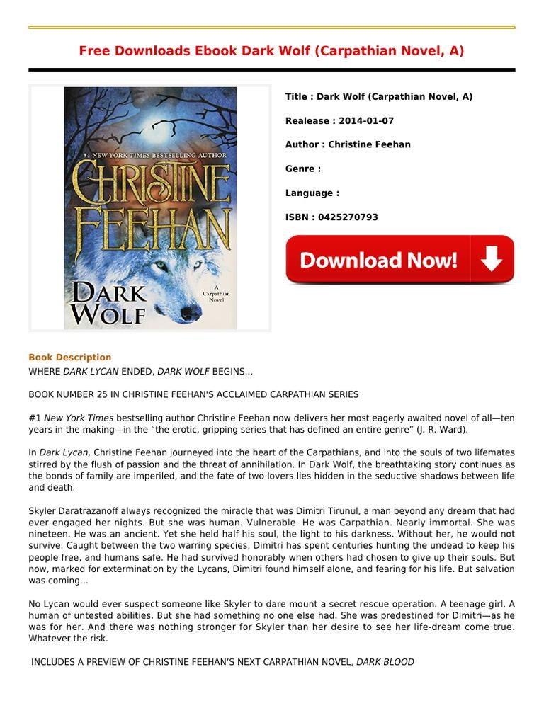 Download For Free Book Dark Wolf Carpathian Novel Apdf  E Books  Novels