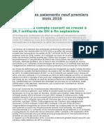Balance Des Paiements Neuf Premiers Mois 2016