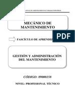 Gestion y Administración de Mantenimiento